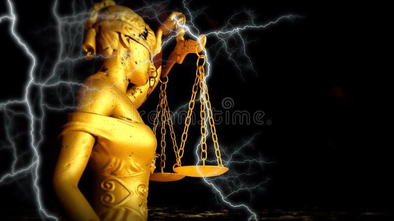 Τρισδιάστατη απεικόνιση Themis στο δικαστήριο διανυσματική απεικόνιση
