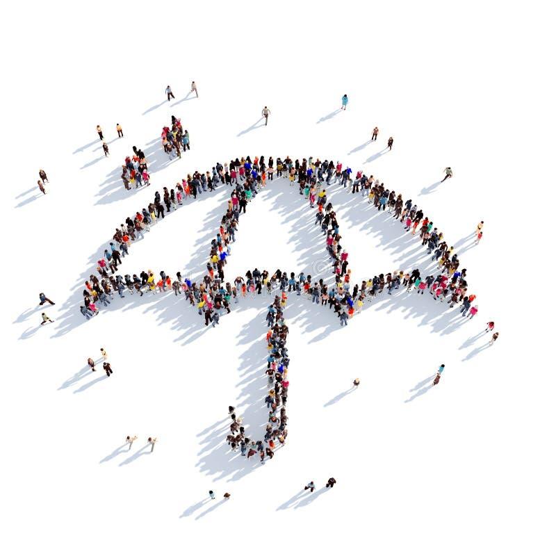 Τρισδιάστατη απόδοση ανθρώπων βροχής ομπρελών απεικόνιση αποθεμάτων