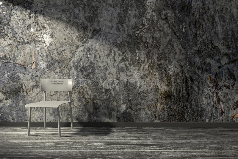 τρισδιάστατη απόδοση: απεικόνιση, εσωτερική, άσπρη καρέκλα ύφους σοφιτών μινιμαλισμού σε ένα ξύλινο πάτωμα ενάντια στον τοίχο πετ ελεύθερη απεικόνιση δικαιώματος
