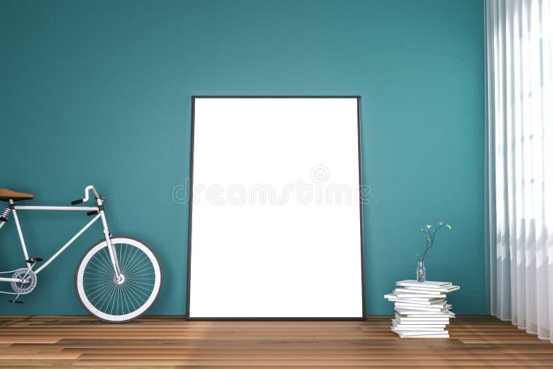 τρισδιάστατη απόδοση: απεικόνιση της άσπρης χλεύης επάνω στο πλαίσιο Υπόβαθρο Hipster πλαστό επάνω άσπρο πλαίσιο αφισών ή εικόνων ελεύθερη απεικόνιση δικαιώματος