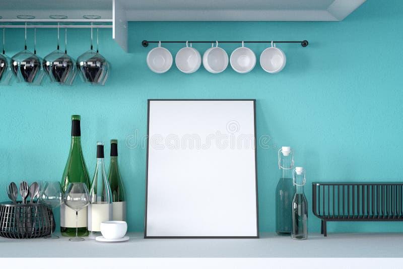 τρισδιάστατη απόδοση: απεικόνιση της άσπρης χλεύης επάνω στο πλαίσιο Υπόβαθρο Hipster πλαστό επάνω άσπρο πλαίσιο αφισών ή εικόνων διανυσματική απεικόνιση