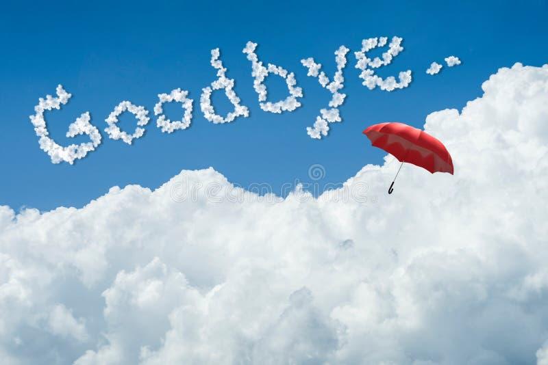 τρισδιάστατη απόδοση: απεικόνιση της κόκκινης ομπρέλας που επιπλέει ανωτέρω ενάντια στο μπλε ουρανό και τα σύννεφα με το κείμενο  διανυσματική απεικόνιση