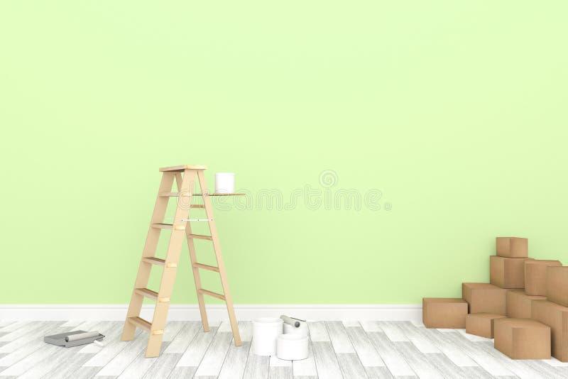 τρισδιάστατη απόδοση: απεικόνιση της σκάλας επισκευής για το ζωγράφο της ζωγραφικής τοίχων διακόσμηση η εγχώρια έννοιά σας ανανεώ απεικόνιση αποθεμάτων