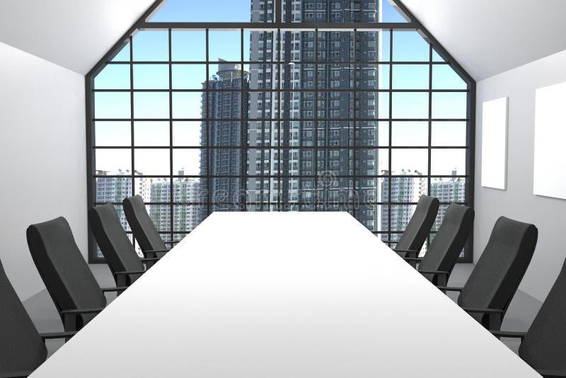 τρισδιάστατη απόδοση: απεικόνιση της σύγχρονης αίθουσας συνδιαλέξεων με τα έπιπλα καρεκλών γραφείων μεγάλα παράθυρα και άποψη πόλ διανυσματική απεικόνιση