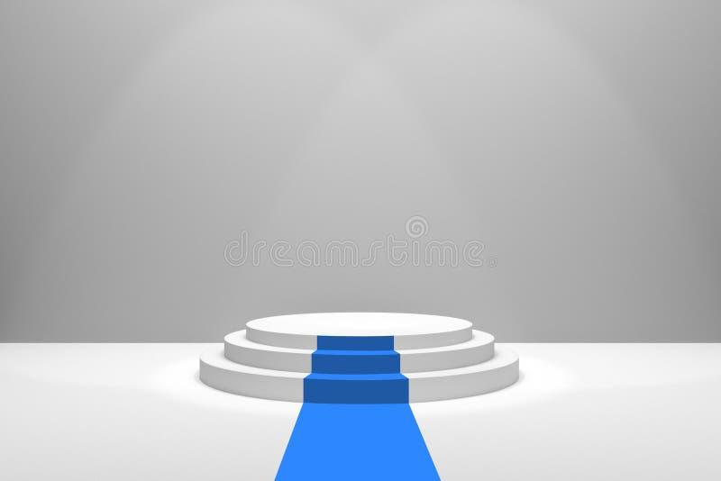 τρισδιάστατη απόδοση: απεικόνιση του σταδίου με τον μπλε τάπητα για την τελετή επηβραβεύσεων Άσπρη στρογγυλή εξέδρα πρώτη θέση κε ελεύθερη απεικόνιση δικαιώματος