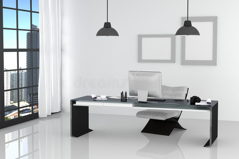 τρισδιάστατη απόδοση: απεικόνιση του σύγχρονου εσωτερικού άσπρου γραφείου του δημιουργικού υπολογιστή γραφείου σχεδιαστών με τον  ελεύθερη απεικόνιση δικαιώματος