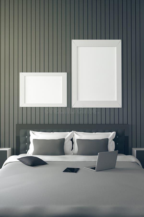 τρισδιάστατη απόδοση: απεικόνιση του σύγχρονου εσωτερικού σπιτιών μέρος δωματίων κρεβατιών του σπιτιού Ευρύχωρη κρεβατοκάμαρα στο ελεύθερη απεικόνιση δικαιώματος