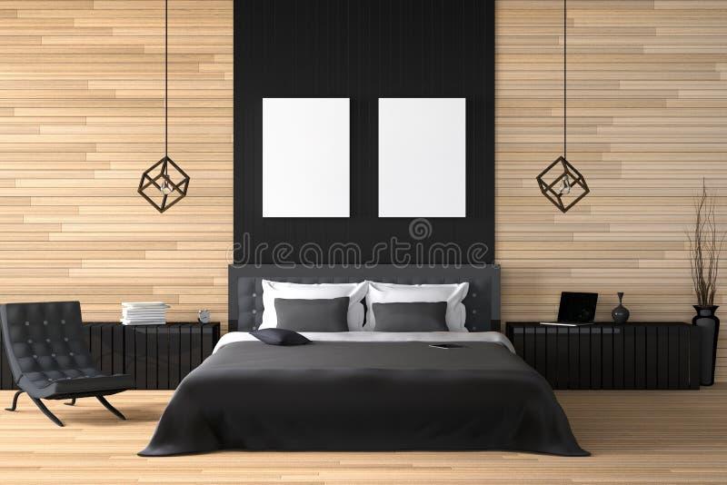 τρισδιάστατη απόδοση: απεικόνιση του σύγχρονου ξύλινου εσωτερικού σπιτιών μέρος δωματίων κρεβατιών του σπιτιού Ευρύχωρη κρεβατοκά ελεύθερη απεικόνιση δικαιώματος
