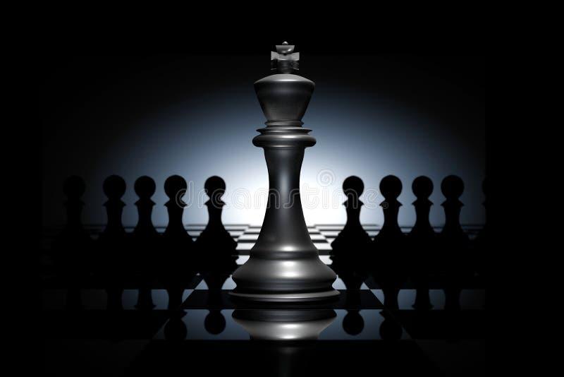 τρισδιάστατη απόδοση: απεικόνιση των κομματιών σκακιού το σκάκι βασιλιάδων γυαλιού στο κέντρο με το σκάκι ενέχυρων στην πλάτη πίν ελεύθερη απεικόνιση δικαιώματος