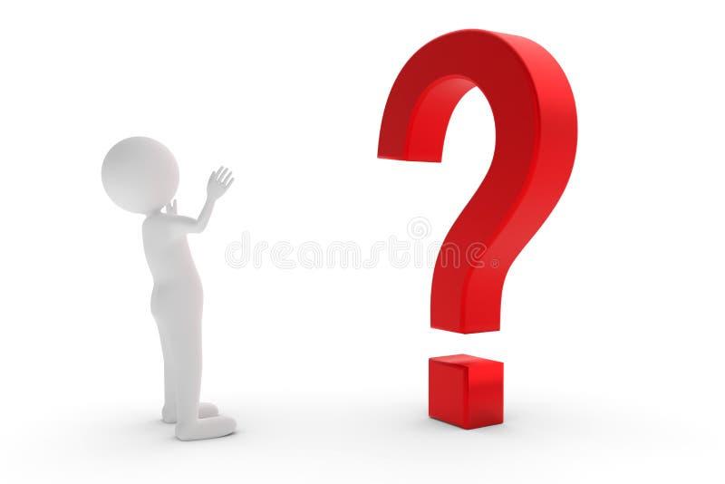 τρισδιάστατη απόδοση από έναν χαρακτήρα αργίλου που στέκεται πριν από ένα κόκκινο ερωτηματικό και ψάχνει για μια απάντηση διανυσματική απεικόνιση