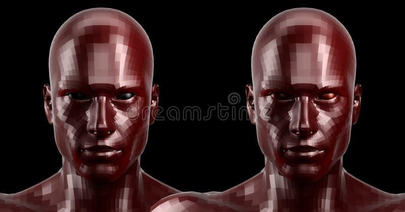 τρισδιάστατη απόδοση Δύο εδροτομημένα πολύτιμους λίθους κόκκινα αρρενωπά κεφάλια που φαίνονται μπροστινά στη κάμερα ελεύθερη απεικόνιση δικαιώματος