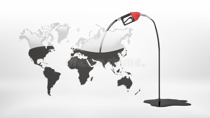 τρισδιάστατη απόδοση ενός αντλώντας πετρελαίου ακροφυσίων αερίου από έναν μισοάδειο γκρίζο γήινο χάρτη και του έχοντος διαρροή αε ελεύθερη απεικόνιση δικαιώματος
