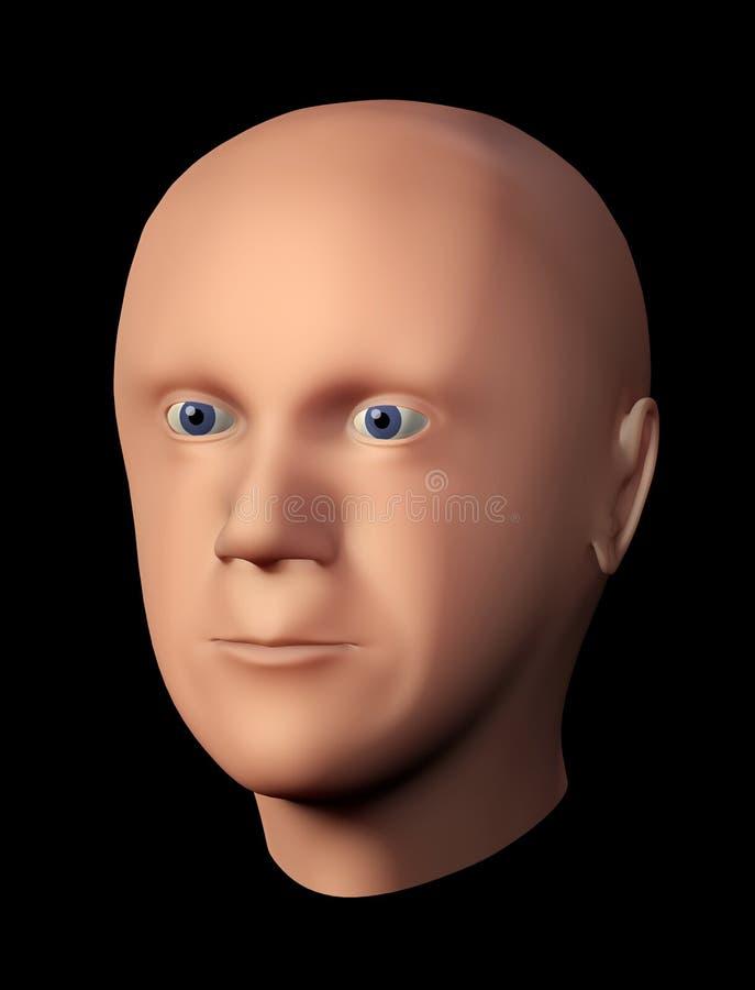 τρισδιάστατη απόδοση ενός αρσενικού κεφαλιού χωρίς τρίχα διανυσματική απεικόνιση