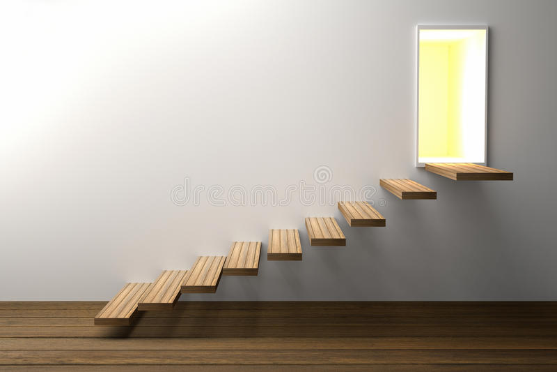 τρισδιάστατη απόδοση: η απεικόνιση του ξύλινου σκαλοπατιού ή επιταχύνει στην ελαφριά λάμποντας πόρτα στο άσπρο κλίμα τοίχων με το διανυσματική απεικόνιση