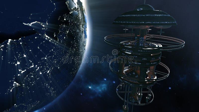 τρισδιάστατη απόδοση Ισχυρό spacestation με αναμμένη την πόλη γήινη σφαίρα ελεύθερη απεικόνιση δικαιώματος