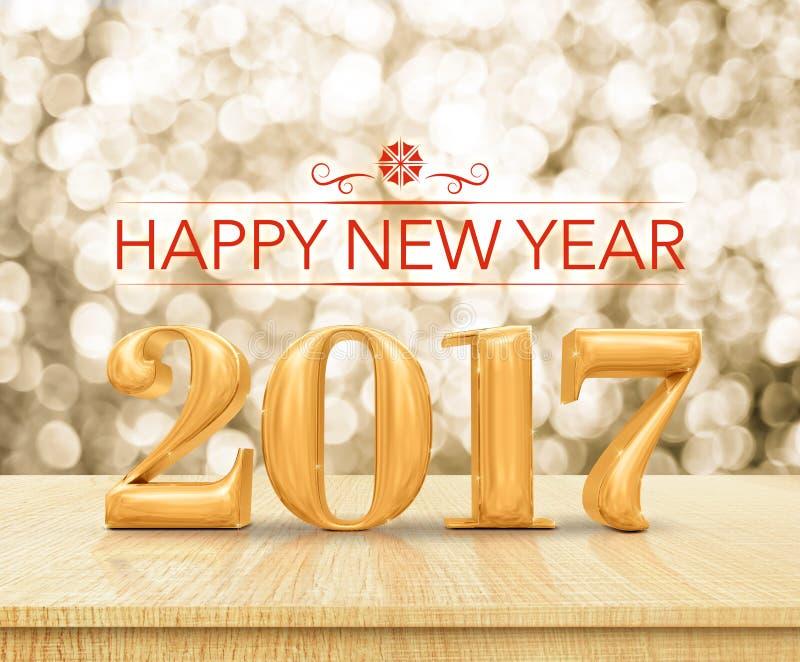 Τρισδιάστατη απόδοση καλής χρονιάς 2017 κόκκινου χρώματος στην ξύλινη επιτραπέζια κορυφή W στοκ εικόνες