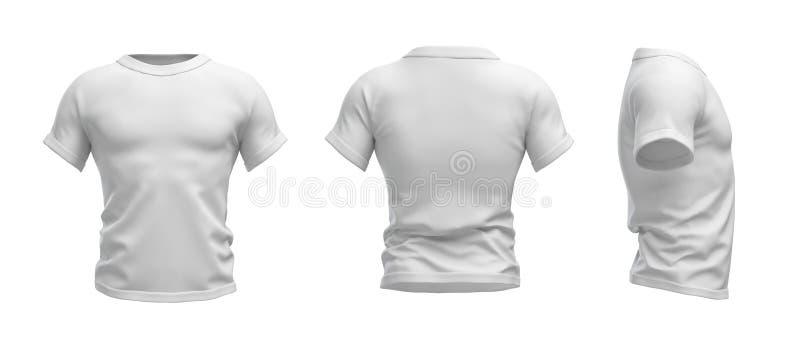 τρισδιάστατη απόδοση μιας άσπρης μπλούζας που διαμορφώνεται ως ρεαλιστικός αρσενικός κορμός κατά την μπροστινή, δευτερεύουσα και  διανυσματική απεικόνιση