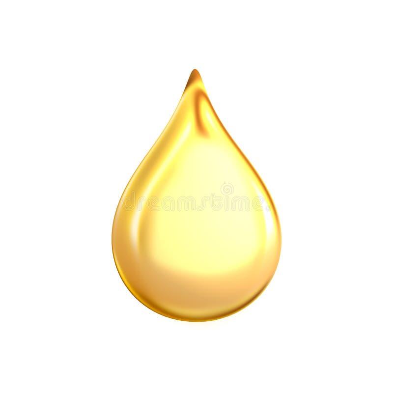 τρισδιάστατη απόδοση μιας μεγάλης κίτρινης φωτεινής και καθαρής πτώσης πετρελαίου που απομονώνεται στο άσπρο υπόβαθρο στοκ εικόνες
