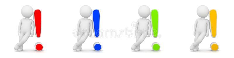 τρισδιάστατη απόδοση του ατόμου με το σημάδι θαυμαστικών που έχει την απάντηση ελεύθερη απεικόνιση δικαιώματος