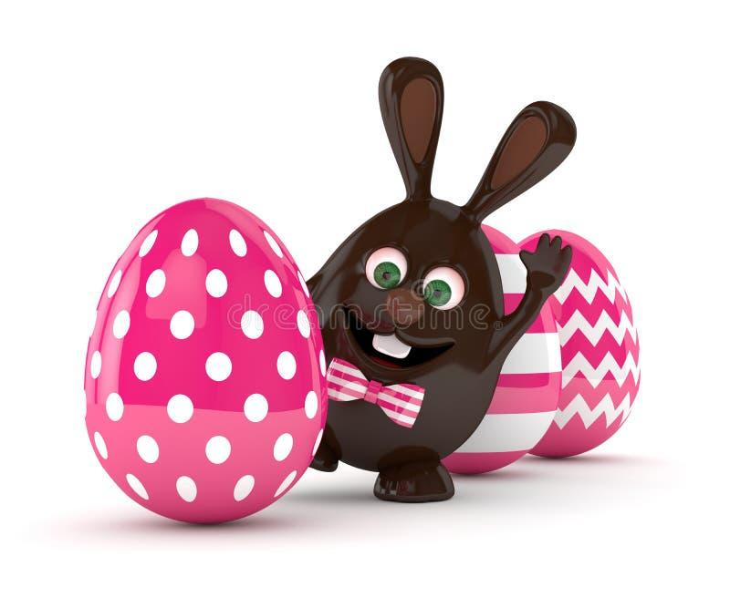 τρισδιάστατη απόδοση του αυγού λαγουδάκι σοκολάτας Πάσχας με τα χρωματισμένα αυγά ελεύθερη απεικόνιση δικαιώματος