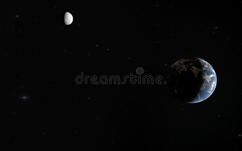 τρισδιάστατη απόδοση του γη-φεγγαριού, στοιχεία που εφοδιάζονται από τη NASA διανυσματική απεικόνιση