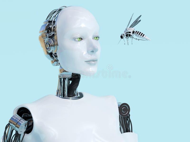 τρισδιάστατη απόδοση του θηλυκού ρομπότ που εξετάζει το ρομποτικό κουνούπι ελεύθερη απεικόνιση δικαιώματος