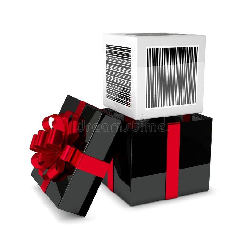 τρισδιάστατη απόδοση του κιβωτίου δώρων με τον κώδικα φραγμών έκπτωσης που απομονώνεται πέρα από το wh διανυσματική απεικόνιση