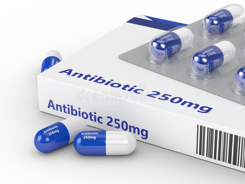 τρισδιάστατη απόδοση των αντιβιοτικών χαπιών στο πακέτο φουσκαλών άνω του W διανυσματική απεικόνιση