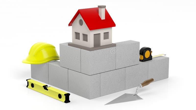 τρισδιάστατη απόδοση των εργαλείων και των τούβλων τεκτονικών με το σύμβολο σπιτιών απεικόνιση αποθεμάτων