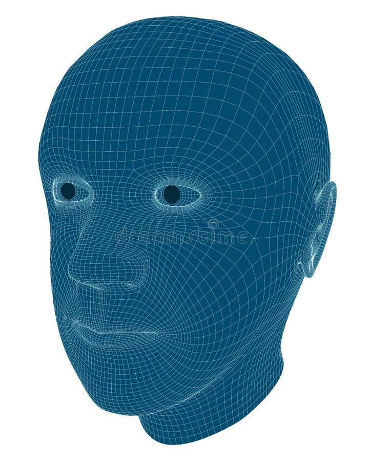 Τρισδιάστατη απόδοση Wireframe ενός Man& x27 κεφάλι του s ελεύθερη απεικόνιση δικαιώματος
