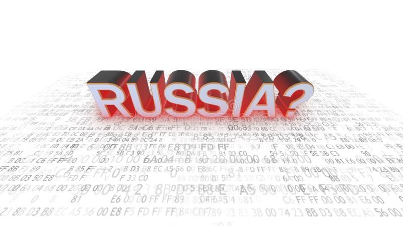 τρισδιάστατη ασφάλεια μηνυτόρων απεικόνισης υπολογιστών Χάκερ στη Ρωσία άσπρος κώδικας διανυσματική απεικόνιση