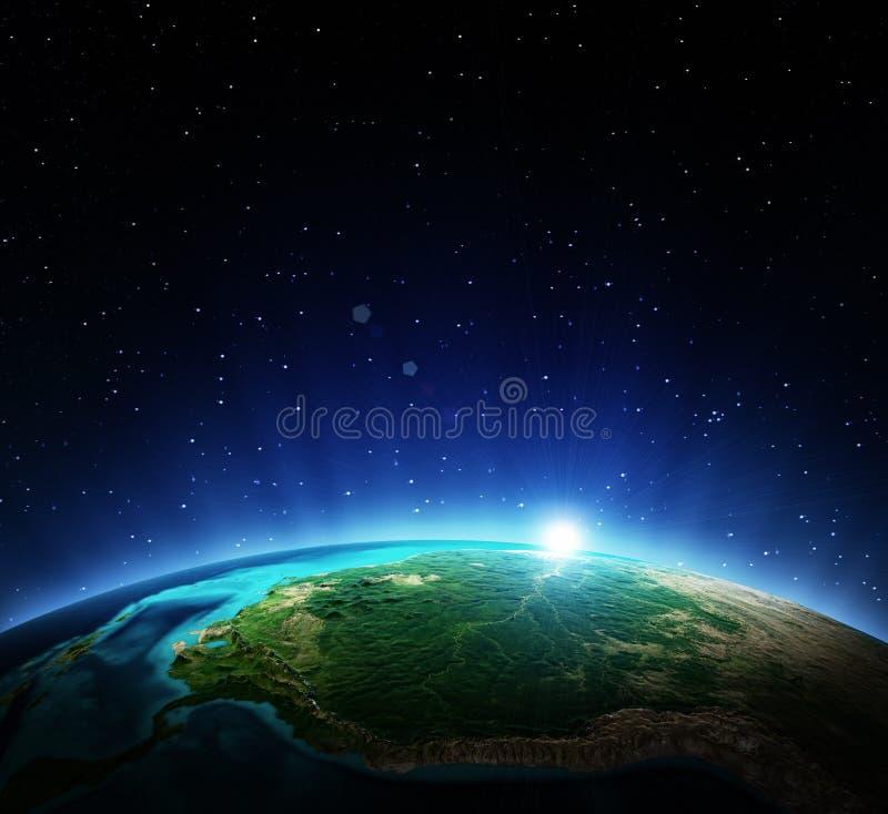 τρισδιάστατη γραμμή γήινων οριζόντων που καθίσταται διαστημική διανυσματική απεικόνιση