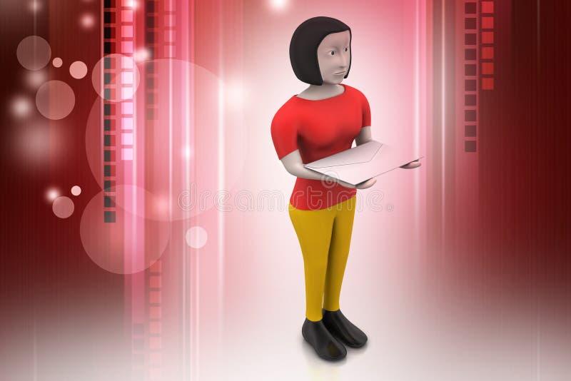 τρισδιάστατη γυναίκα με το ε - ταχυδρομείο διανυσματική απεικόνιση