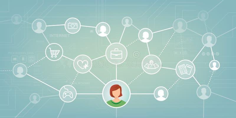 τρισδιάστατη εικόνα δικτύων που καθίσταται κοινωνική διανυσματική απεικόνιση
