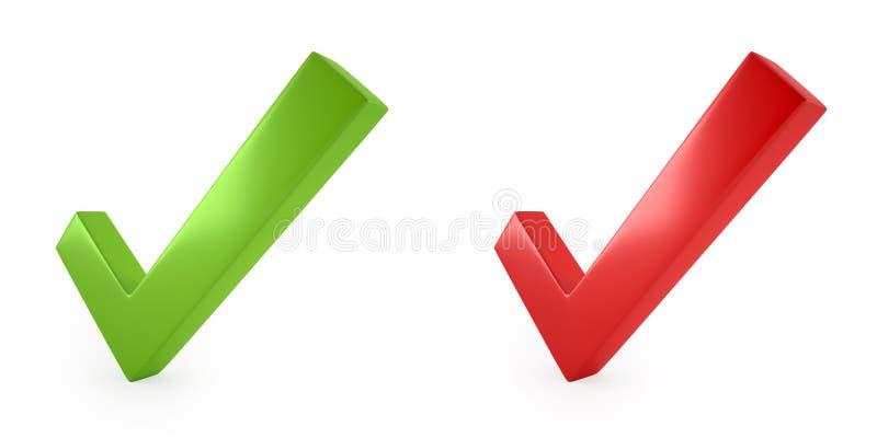 τρισδιάστατη εικόνα του κόκκινου και πράσινου σημαδιού ελέγχου απεικόνιση αποθεμάτων