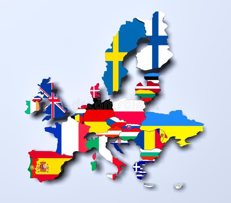 Τρισδιάστατη εικόνα χαρτών της Ευρωπαϊκής Ένωσης πολιτική διανυσματική απεικόνιση