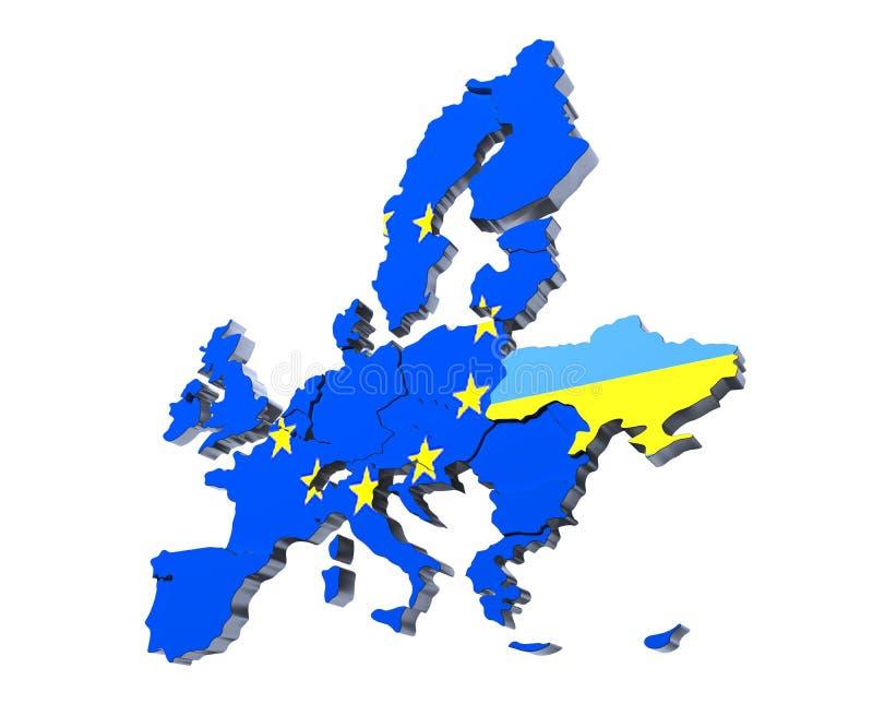 Τρισδιάστατη εικόνα χαρτών της Ευρωπαϊκής Ένωσης πολιτική απεικόνιση αποθεμάτων