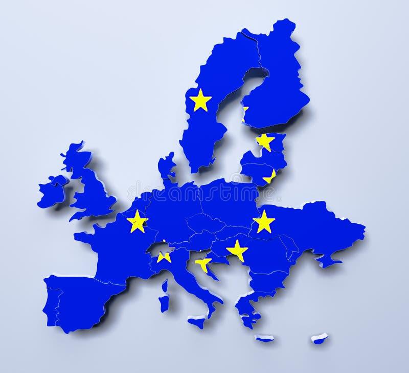 Τρισδιάστατη εικόνα χαρτών της Ευρωπαϊκής Ένωσης διανυσματική απεικόνιση