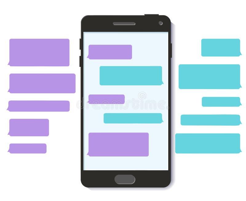 Τρισδιάστατη επίπεδη διανυσματική κινητή διεπαφή φυσαλίδων μηνυμάτων κειμένου συνομιλίας απεικόνιση αποθεμάτων