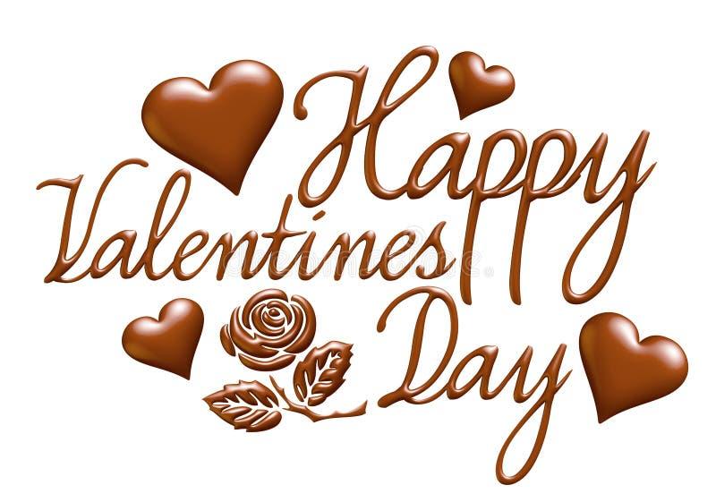 τρισδιάστατη ευτυχής ημέρα βαλεντίνων στο σχέδιο σοκολάτας διανυσματική απεικόνιση