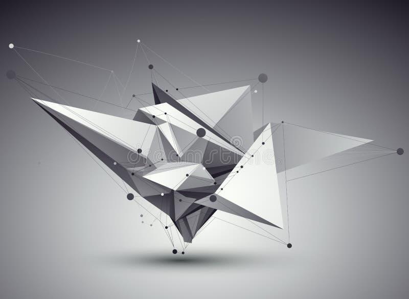τρισδιάστατη διανυσματική αφηρημένη απεικόνιση τεχνολογίας, γεωμετρικό unus προοπτικής στοκ φωτογραφία με δικαίωμα ελεύθερης χρήσης