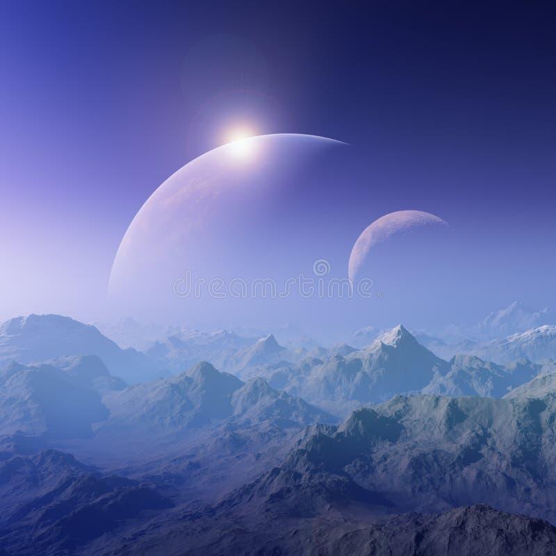 τρισδιάστατη διαστημική τέχνη: Ένα ομιχλώδες τοπίο φαντασίας απεικόνιση αποθεμάτων