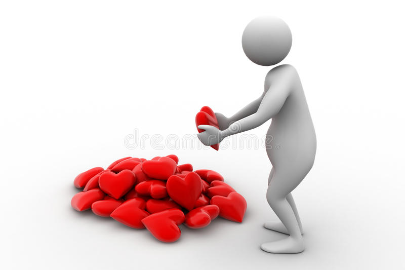 τρισδιάστατη καρδιά εκμετάλλευσης ατόμων στα χέρια του ελεύθερη απεικόνιση δικαιώματος