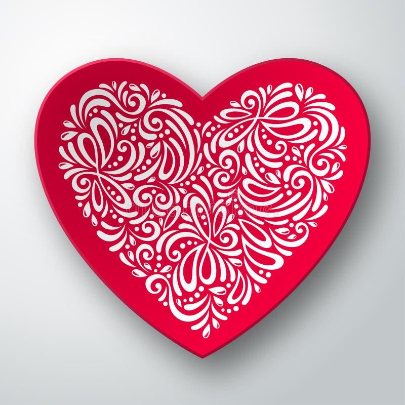 Τρισδιάστατη καρδιά με το άσπρο σχέδιο διανυσματική απεικόνιση