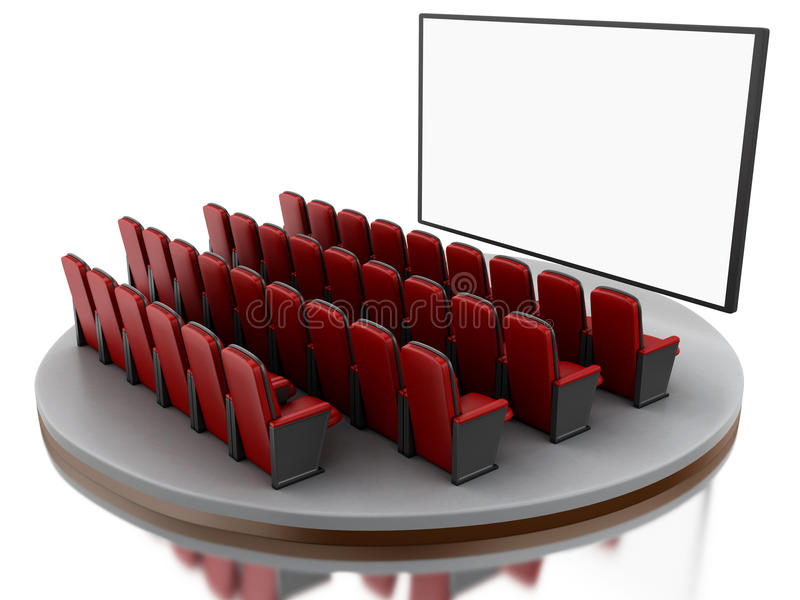 τρισδιάστατη κινηματογραφική αίθουσα κινηματογράφων ελεύθερη απεικόνιση δικαιώματος