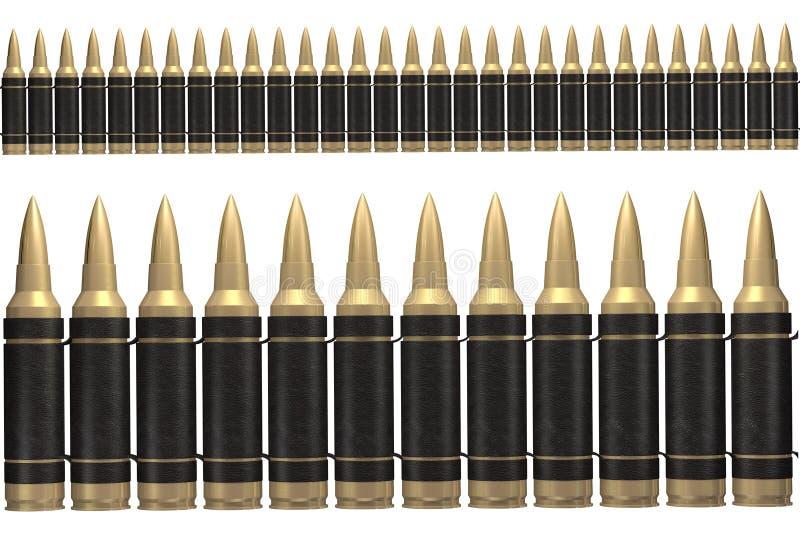τρισδιάστατη μαύρη ζώνη πυρομαχικών ελεύθερη απεικόνιση δικαιώματος