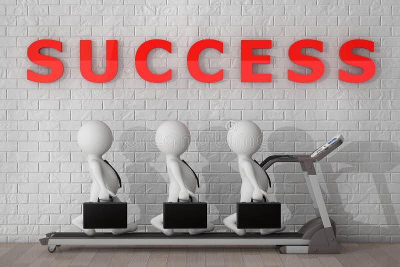 τρισδιάστατη ομάδα Businessmans πέρα από Treadmill τρισδιάστατη απόδοση απεικόνιση αποθεμάτων