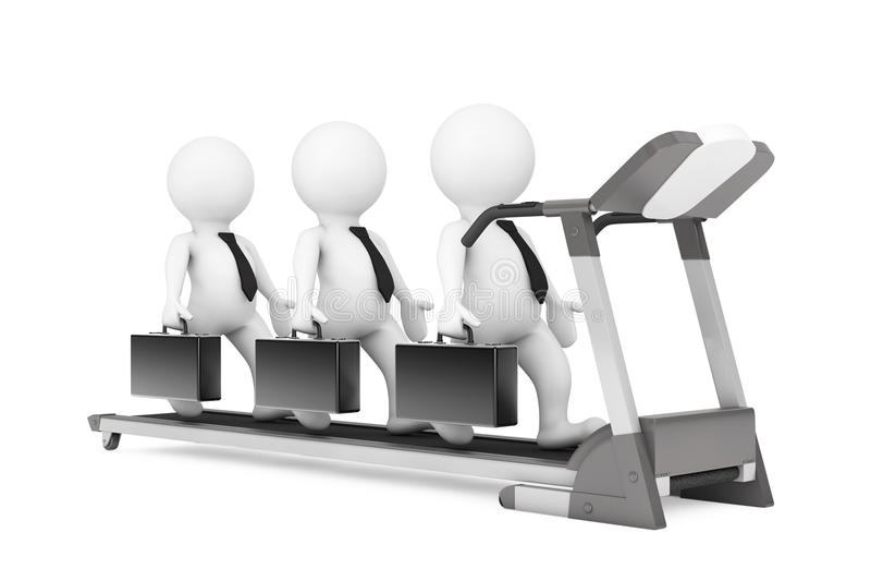 τρισδιάστατη ομάδα Businessmans πέρα από Treadmill τρισδιάστατη απόδοση ελεύθερη απεικόνιση δικαιώματος