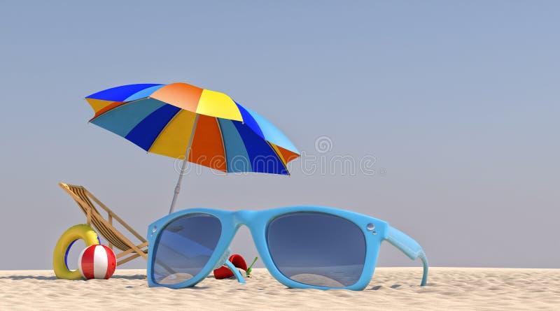τρισδιάστατη ομπρέλα εδρών απεικόνισης στην παραλία στοκ φωτογραφία