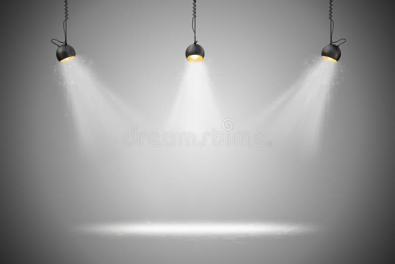 τρισδιάστατη οργάνωση υποβάθρου με τους λαμπτήρες φωτισμού ελεύθερη απεικόνιση δικαιώματος